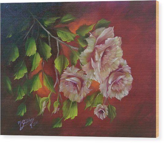 Overhanging Roses Wood Print by Micheal Giddens