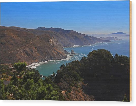 Overlooking Marin Headlands Wood Print