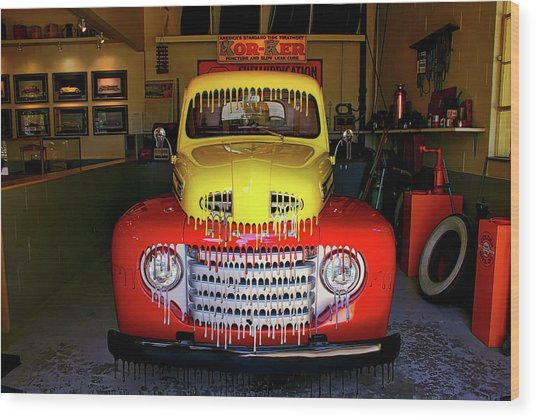 Overpainted 1950 Ford Pickup Wood Print