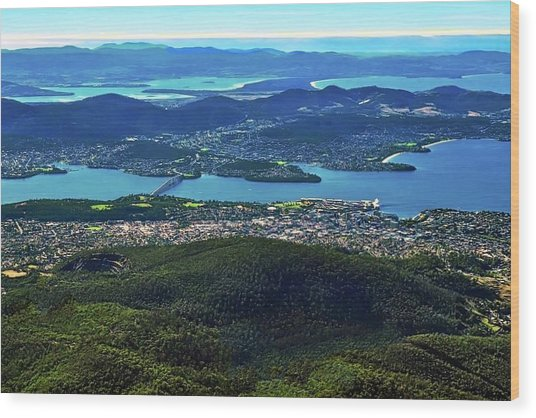 Overview Of Hobart Tasmania Wood Print