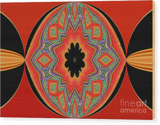 Unique And Colorful Orange Black Yellow Design Wood Print