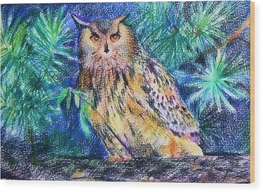 owl Wood Print by Anastasia Michaels