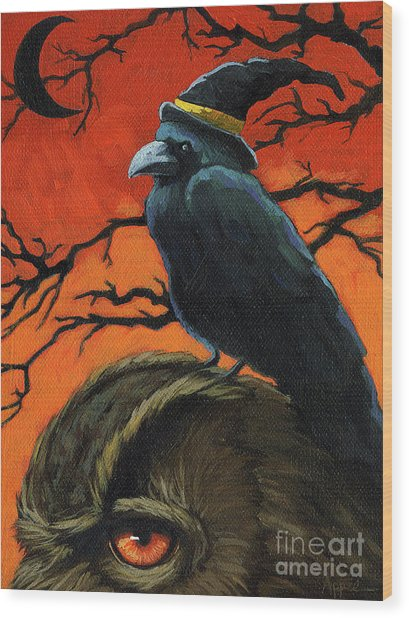 Owl And Crow Halloween Wood Print