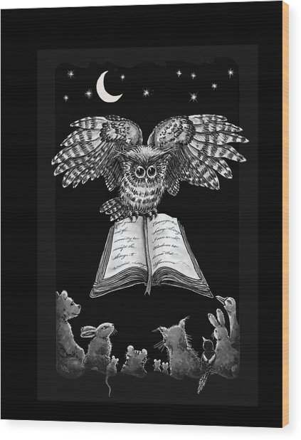Owl And Friends Blackwhite Wood Print