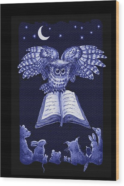 Owl And Friends Indigo Blue Wood Print