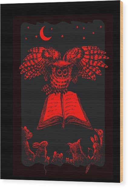 Owl And Friends Redblack Wood Print