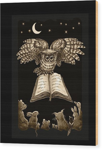Owl And Friends Sepia Wood Print