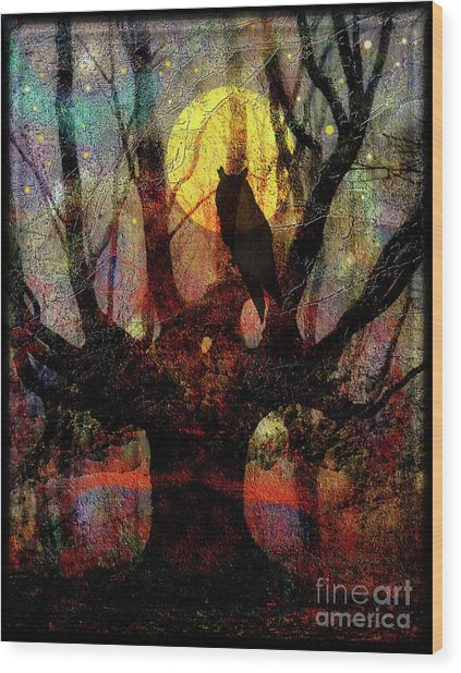 Owl And Willow Tree Wood Print