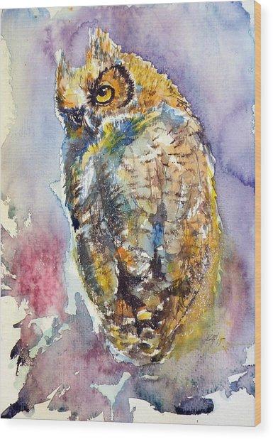 Owl At Night II Wood Print
