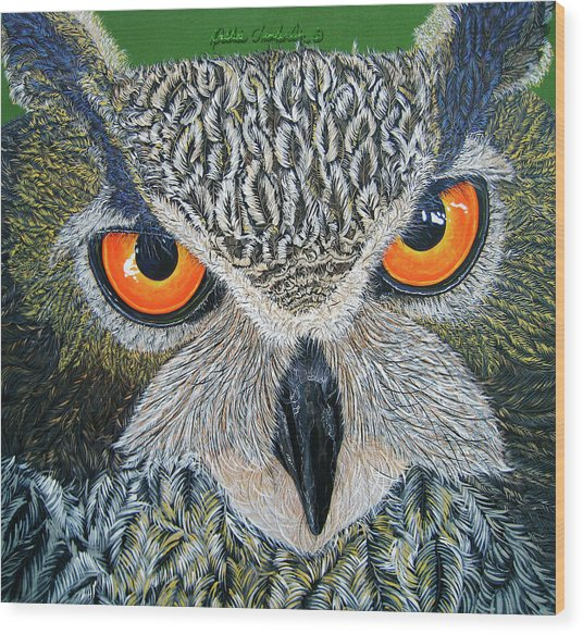 Owl Capone Wood Print