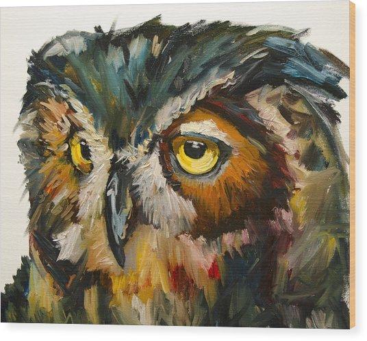 Owl Eye Wood Print