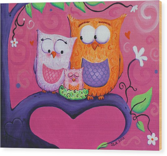 Owl Family Wood Print by Jennifer Alvarez