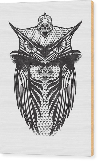 Owl Illustration Wood Print