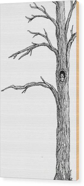 Owl Ink Tree Wood Print