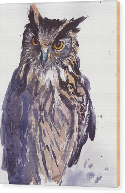 Owl Watercolor Wood Print
