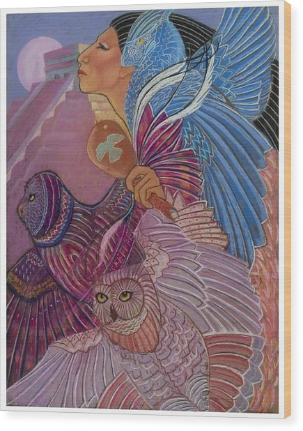 Owl Woman At Chichen Itza Wood Print