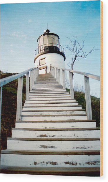 Owl's Head Light Wood Print