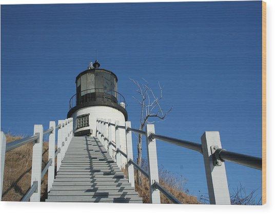 Owls Head Lighthouse Winter Wood Print by Doug Mills