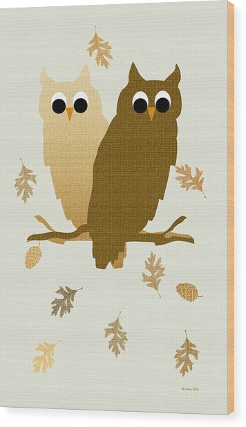 Owls Pattern Art Wood Print