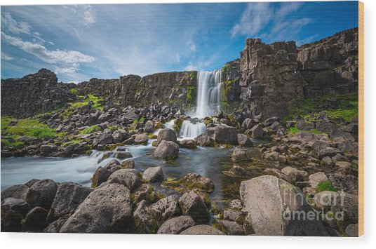 Oxararfoss Waterfall  Wood Print