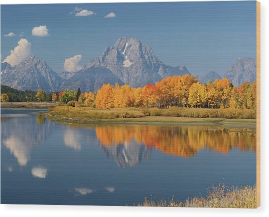Oxbow Bend Reflection Wood Print