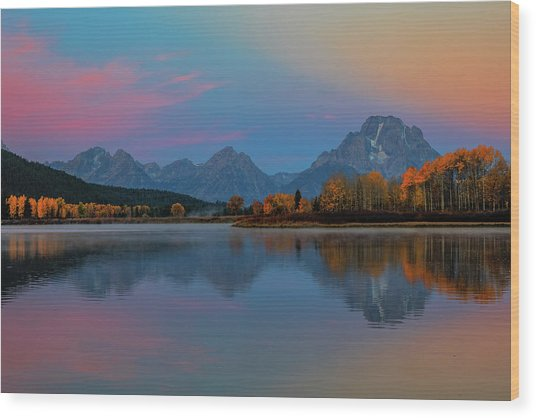 Oxbows Reflections Wood Print