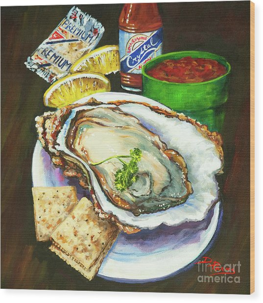 Oyster And Crystal Wood Print