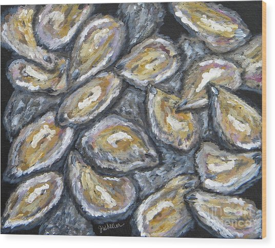 Oyster Stack Wood Print