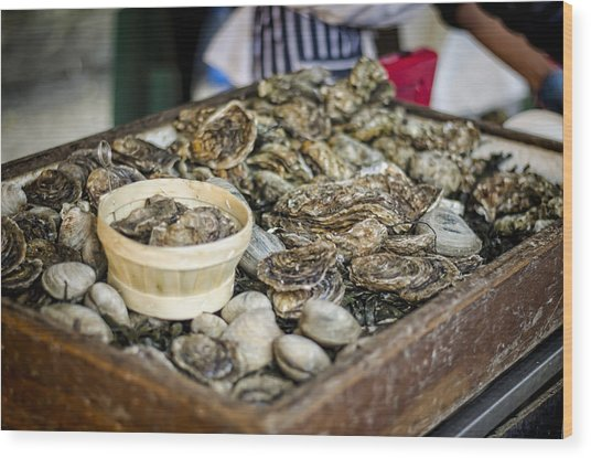 Oysters At The Market Wood Print