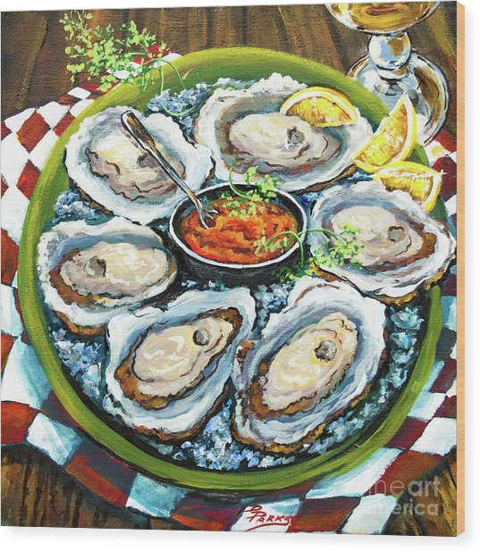 Oysters On The Half Shell Wood Print