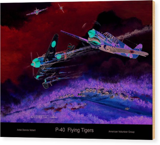 P-40 Flying Tigers Wood Print by Dennis Vebert