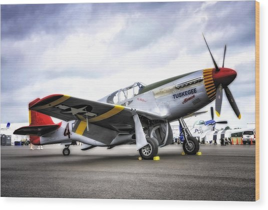 P51-c Mustang In Hdr Wood Print