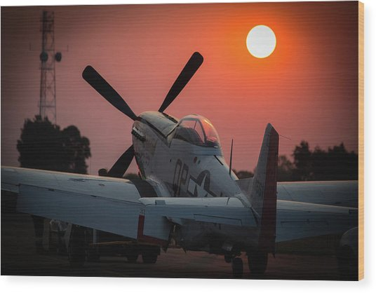 P51 Sunset Wood Print