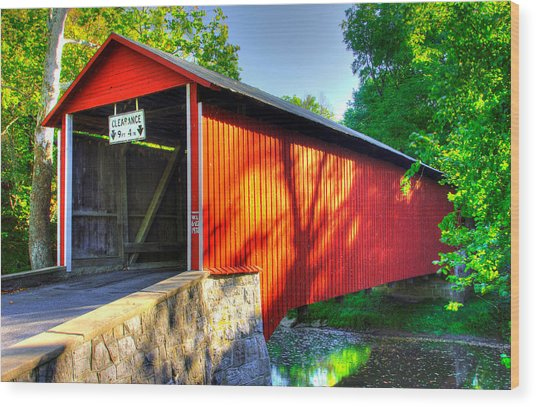 Pa Country Roads - Witherspoon Covered Bridge Over Licking Creek No. 4b - Franklin County Wood Print