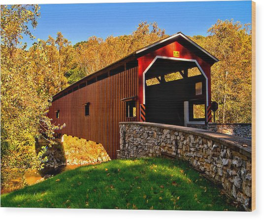 Pa Covered Bridge Wood Print