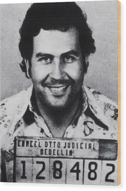 Pablo Escobar Mug Shot 1991 Vertical Wood Print