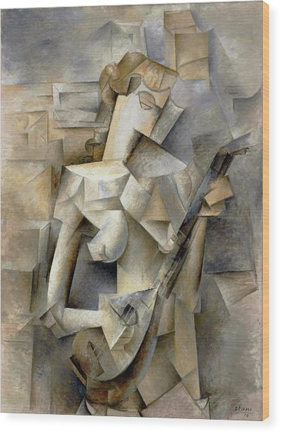 Pablo Picasso Girl With A Mandolin 1910 Wood Print