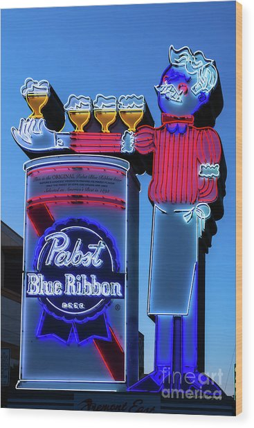 Pabst Blue Ribbon Neon Sign Fremont Street Wood Print