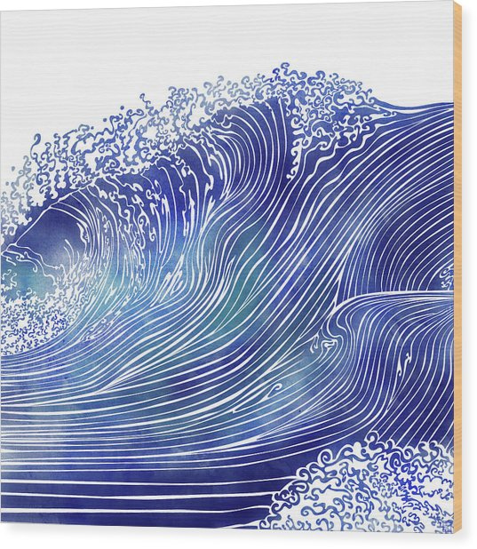 Pacific Waves Wood Print