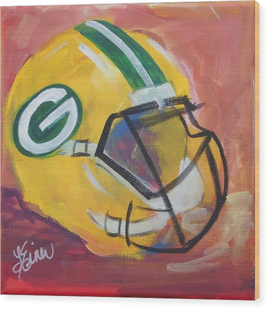 Packer Helmet Wood Print