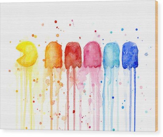 Pacman Watercolor Rainbow Wood Print