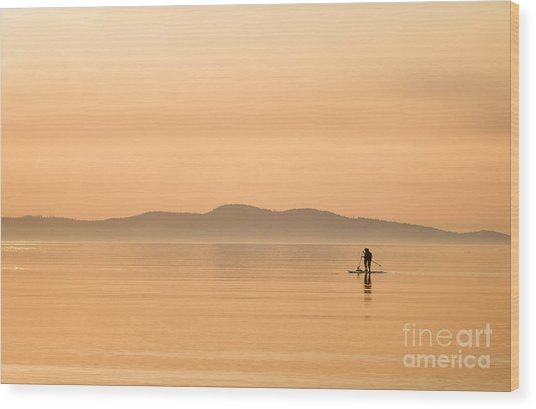 Paddle Boarding At Sunrise Wood Print