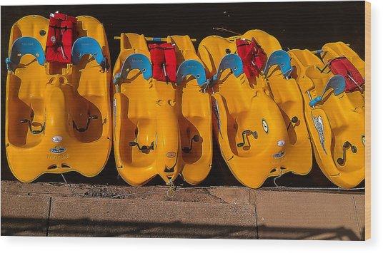 Paddle-boat Armada Wood Print
