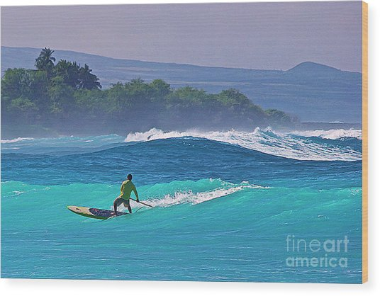 Paddleboarder Rides The Outside Break Wood Print