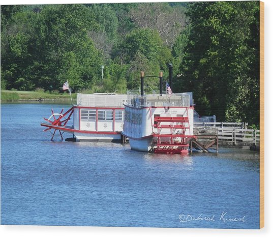 Paddleboat On The River Wood Print