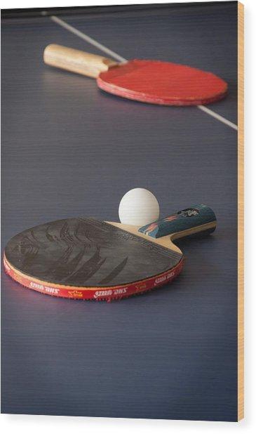 Paddles And Ball Wood Print