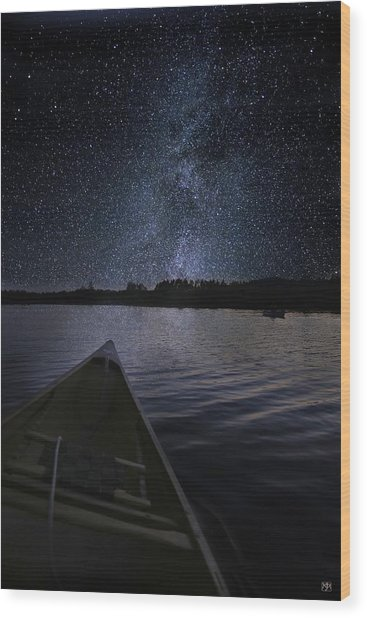 Paddling The Milky Way Wood Print