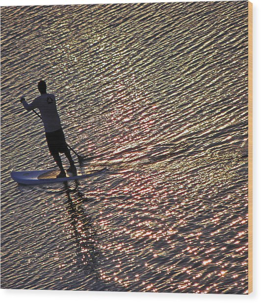 Paddling The Pacific Wood Print