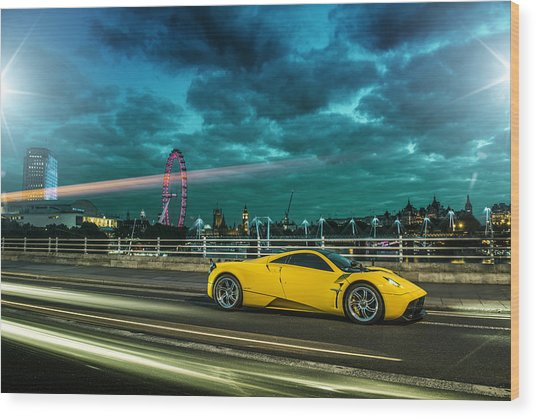 Pagani Huayra London Wood Print