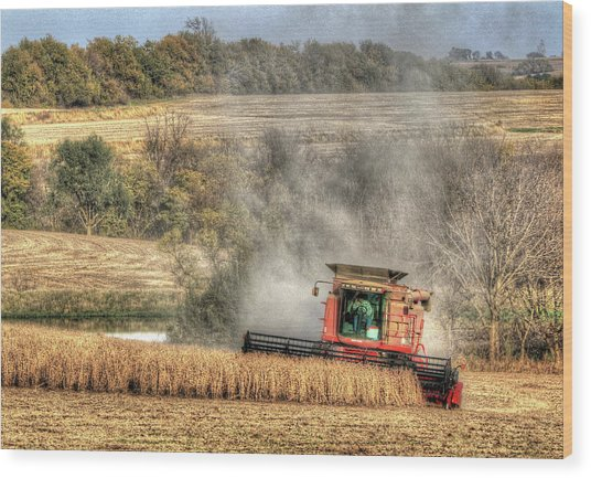 Page County Iowa Soybean Harvest Wood Print